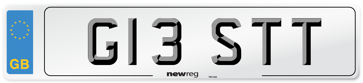 G13 STT Number Plate from New Reg