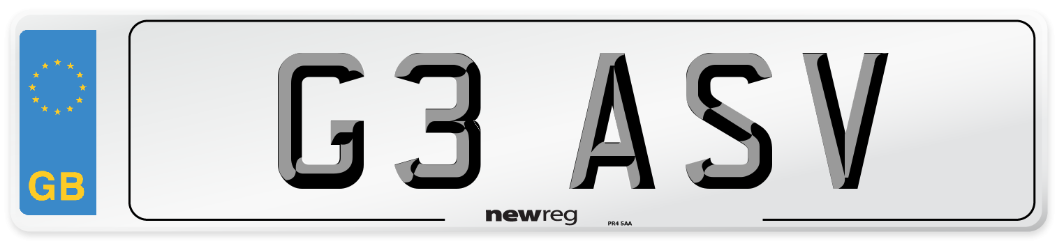 G3 ASV Number Plate from New Reg