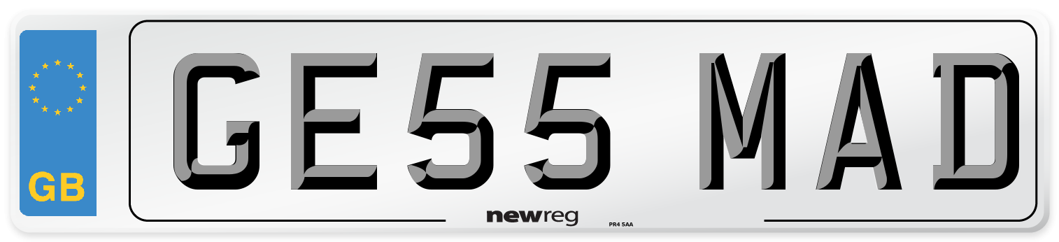 GE55 MAD Number Plate from New Reg
