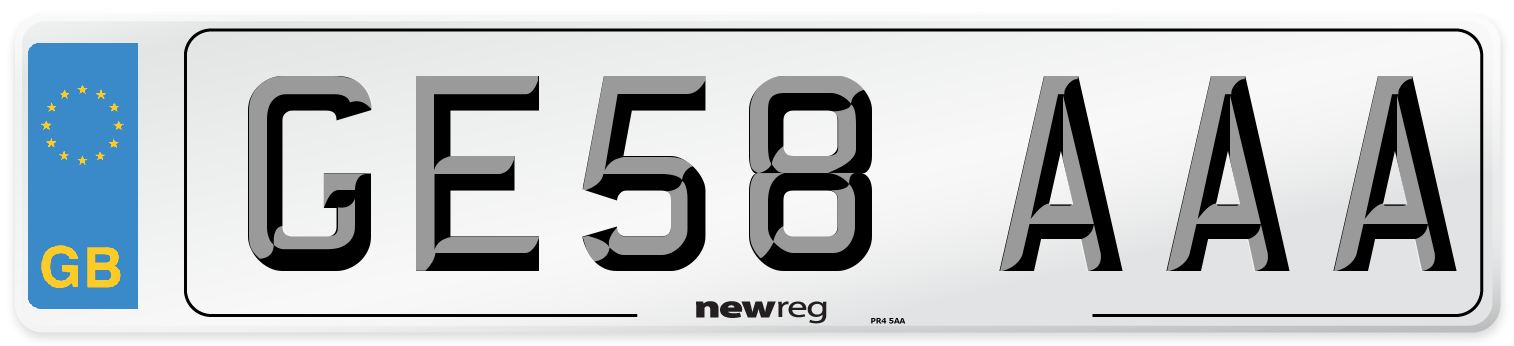 GE58 AAA Number Plate from New Reg