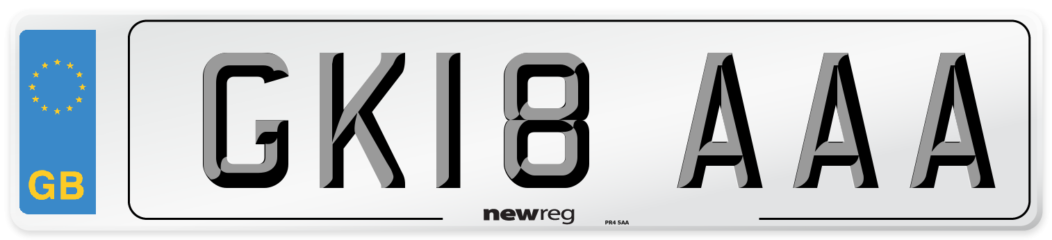 GK18 AAA Number Plate from New Reg