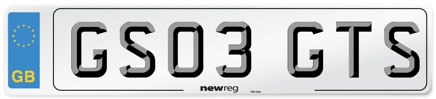 GS03 GTS Number Plate from New Reg