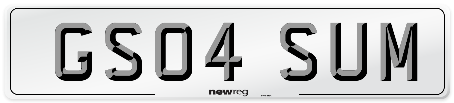 GS04 SUM Number Plate from New Reg