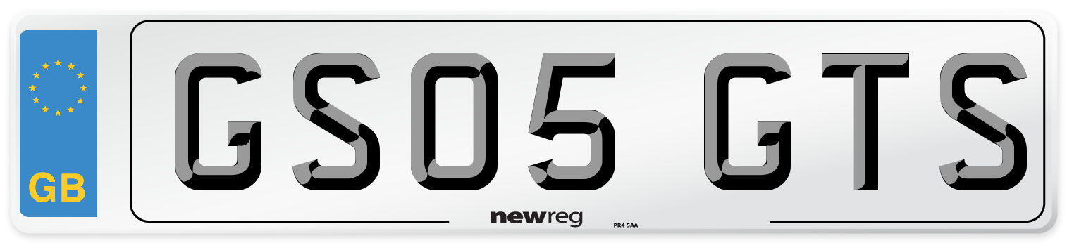 GS05 GTS Number Plate from New Reg