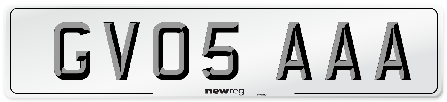 GV05 AAA Number Plate from New Reg