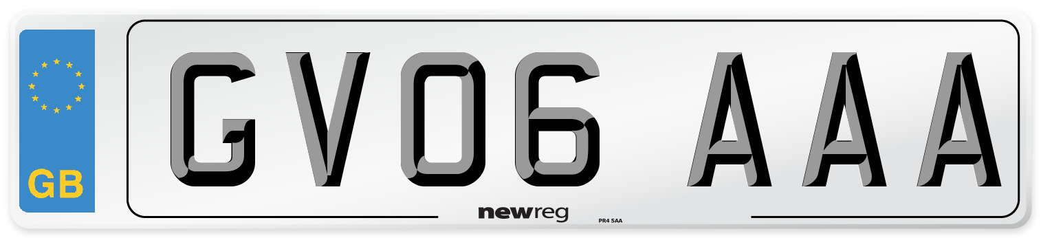 GV06 AAA Number Plate from New Reg