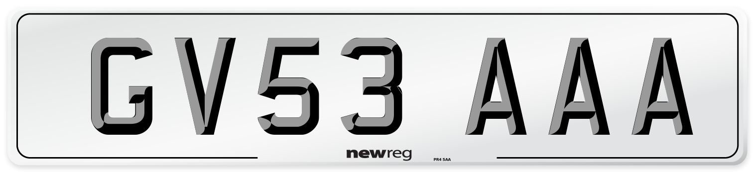 GV53 AAA Number Plate from New Reg