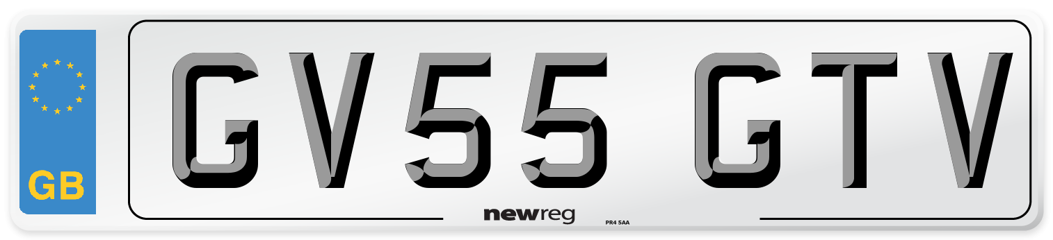 GV55 GTV Number Plate from New Reg