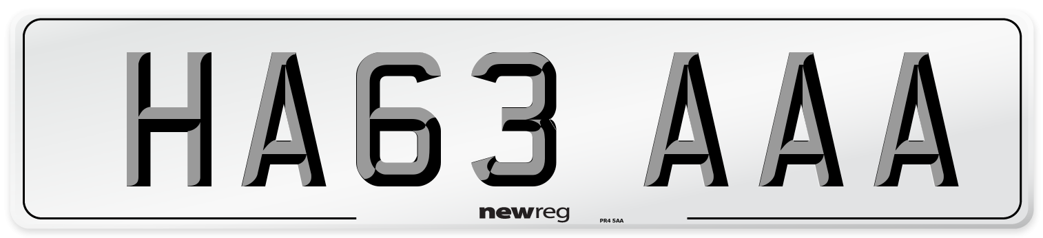 HA63 AAA Number Plate from New Reg