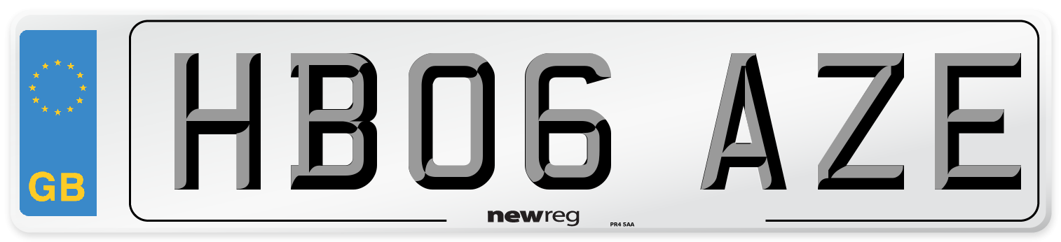HB06 AZE Number Plate from New Reg