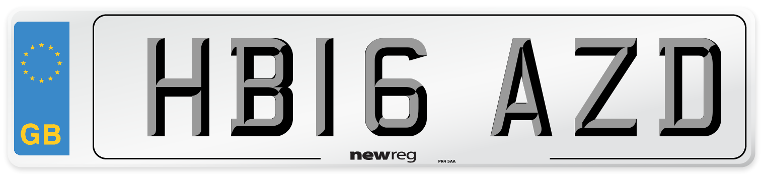 HB16 AZD Number Plate from New Reg