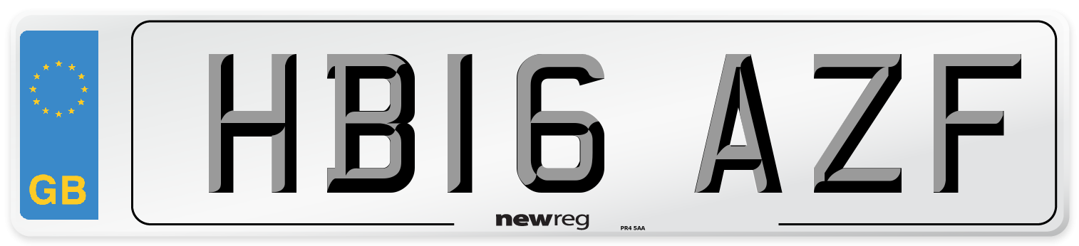 HB16 AZF Number Plate from New Reg