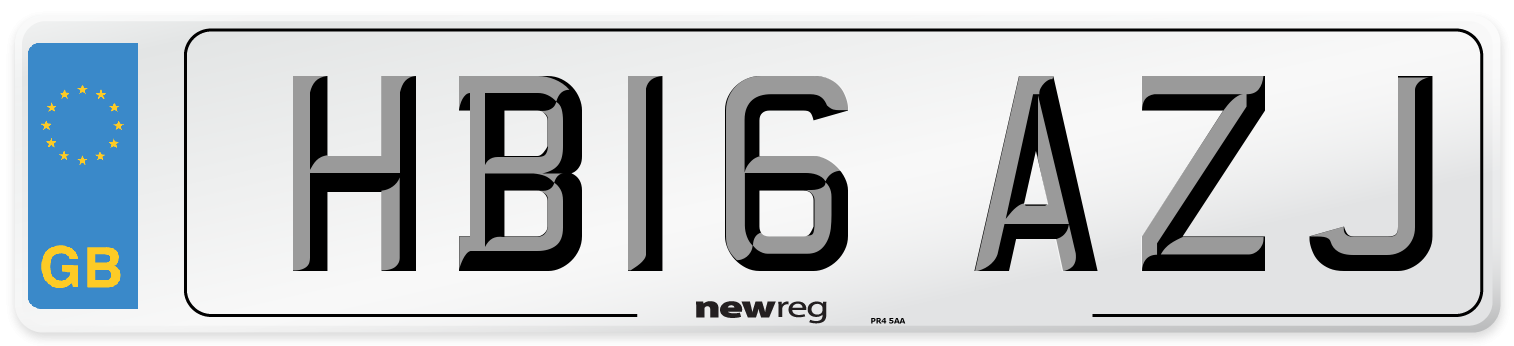 HB16 AZJ Number Plate from New Reg