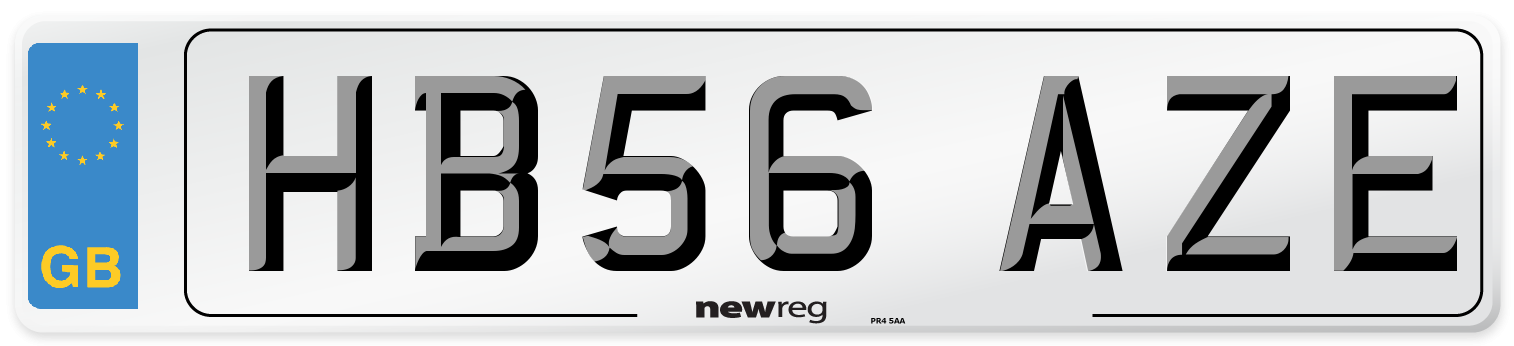 HB56 AZE Number Plate from New Reg