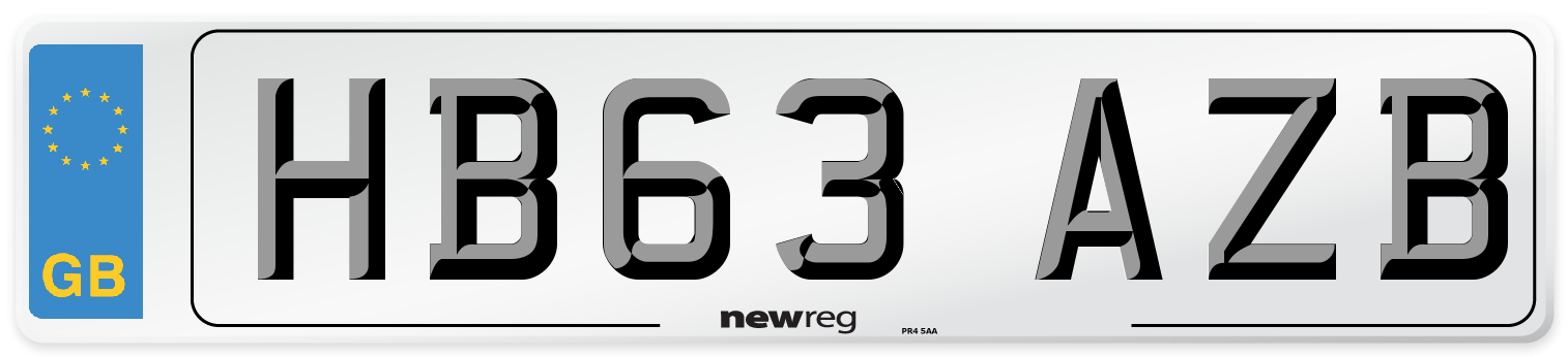 HB63 AZB Number Plate from New Reg