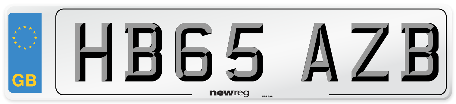 HB65 AZB Number Plate from New Reg