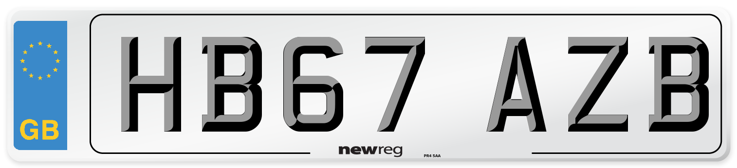 HB67 AZB Number Plate from New Reg