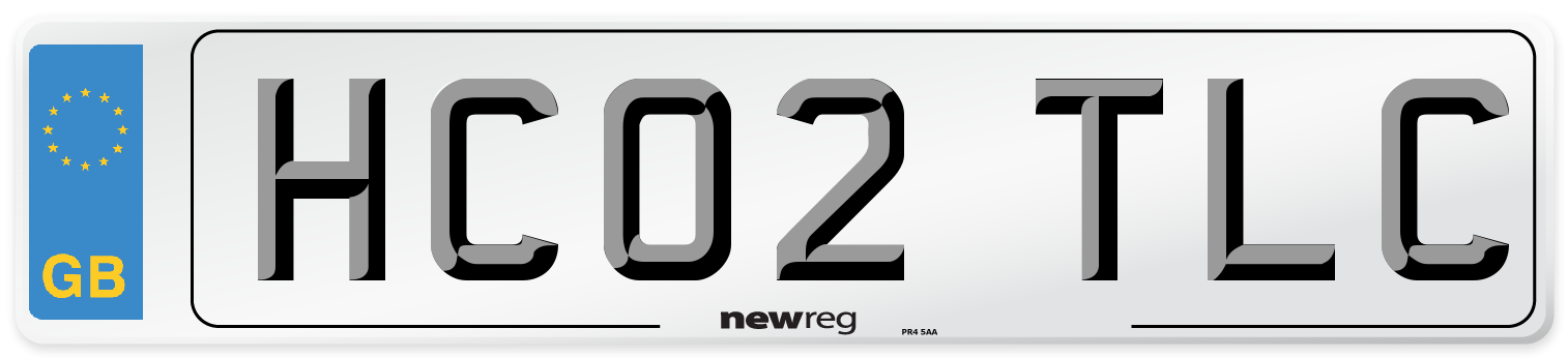 HC02 TLC Number Plate from New Reg