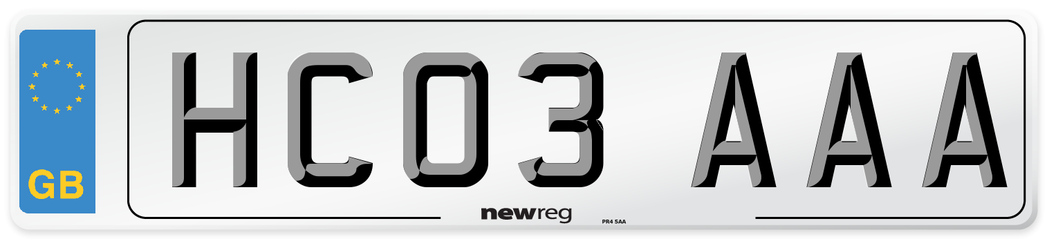 HC03 AAA Number Plate from New Reg