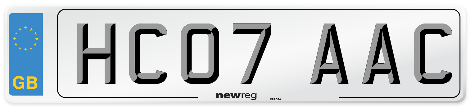 HC07 AAC Number Plate from New Reg