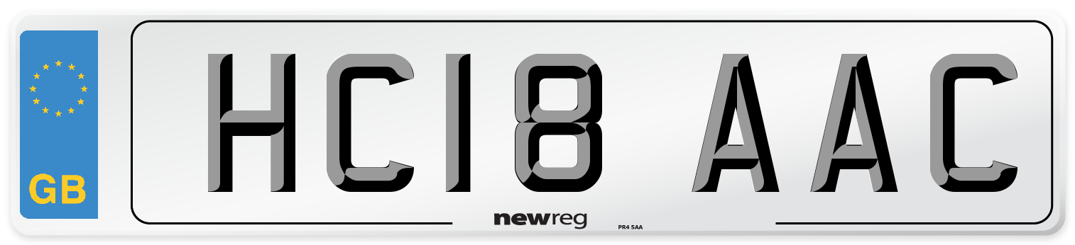 HC18 AAC Number Plate from New Reg