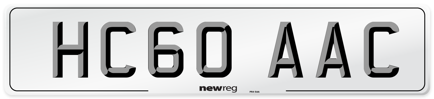 HC60 AAC Number Plate from New Reg
