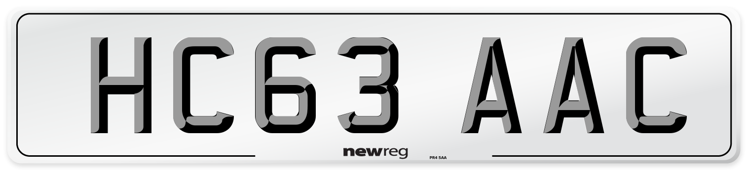 HC63 AAC Number Plate from New Reg