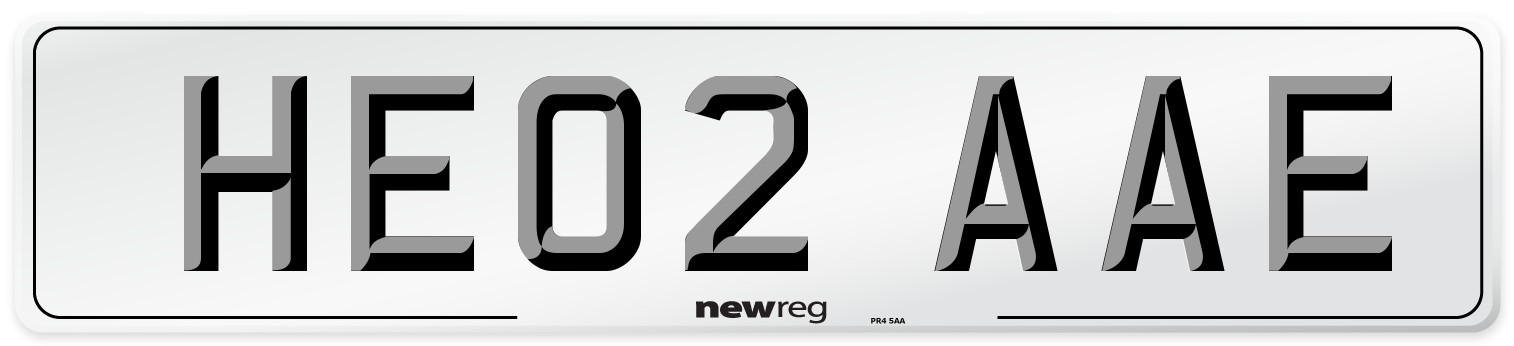 HE02 AAE Number Plate from New Reg