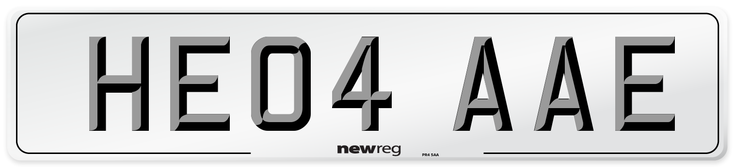 HE04 AAE Number Plate from New Reg