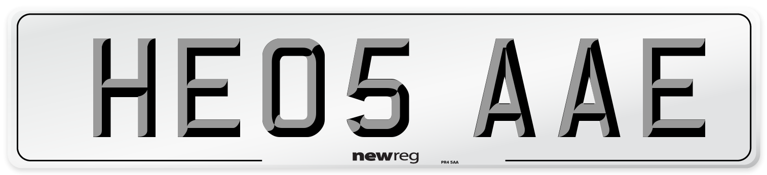HE05 AAE Number Plate from New Reg
