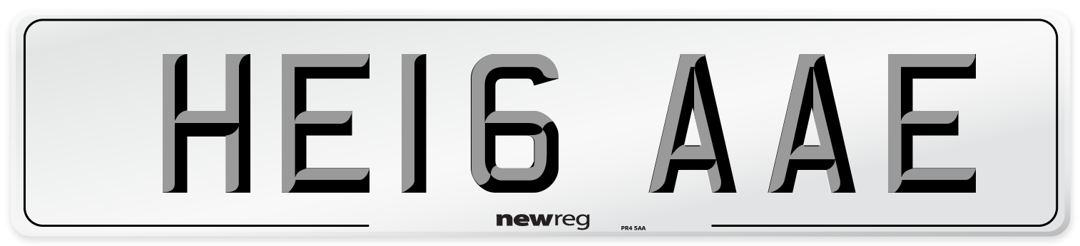 HE16 AAE Number Plate from New Reg