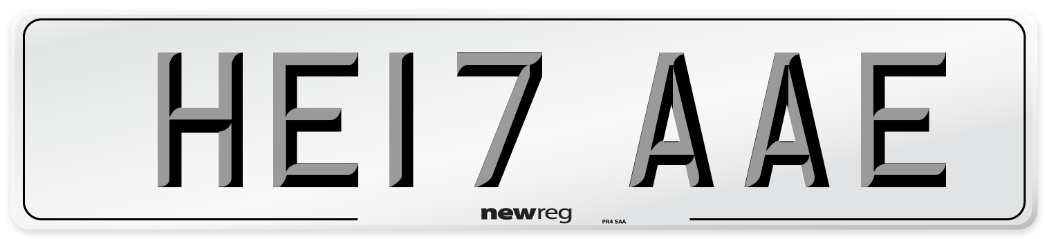 HE17 AAE Number Plate from New Reg