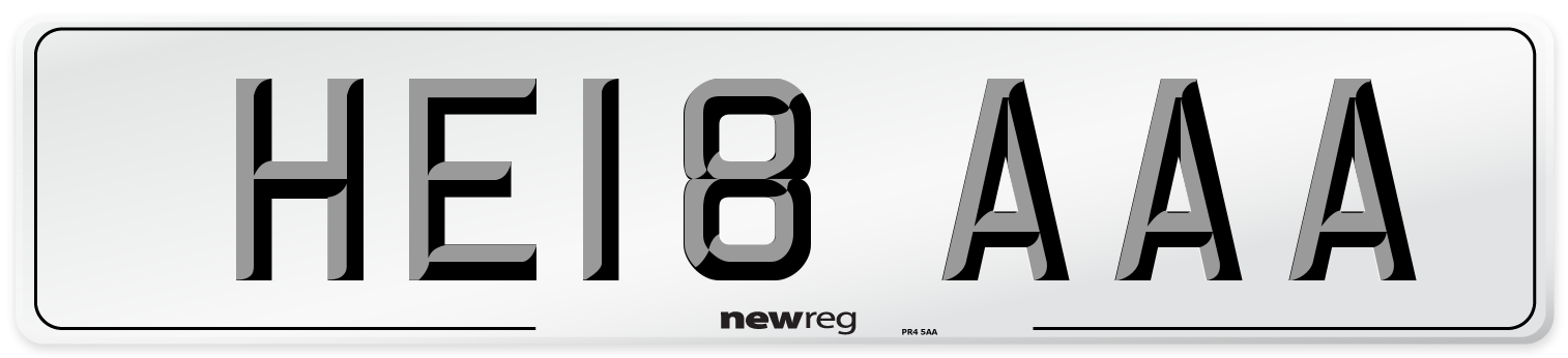 HE18 AAA Number Plate from New Reg