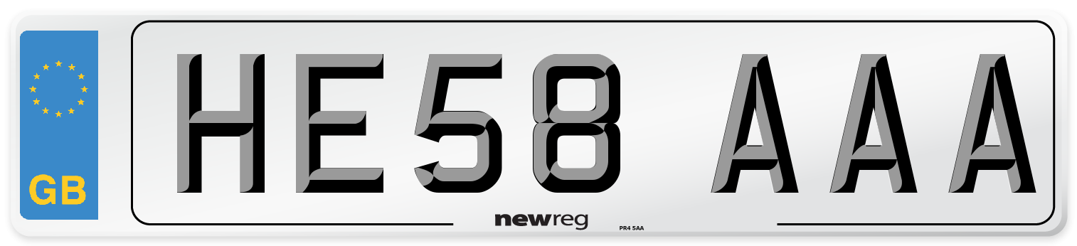 HE58 AAA Number Plate from New Reg