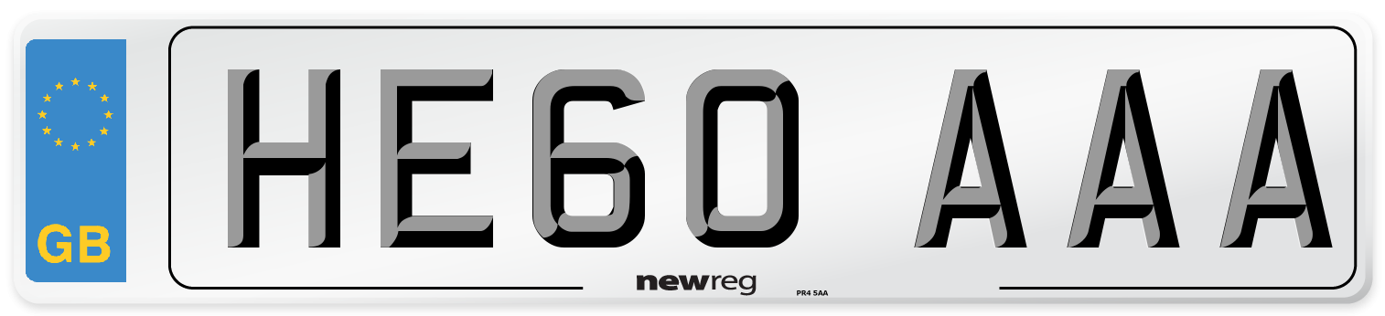HE60 AAA Number Plate from New Reg