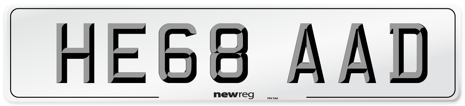 HE68 AAD Number Plate from New Reg