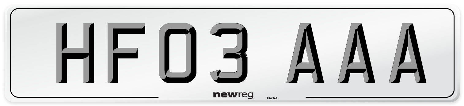 HF03 AAA Number Plate from New Reg