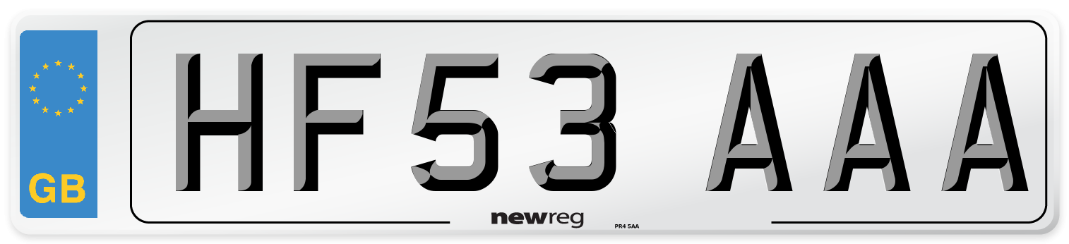 HF53 AAA Number Plate from New Reg
