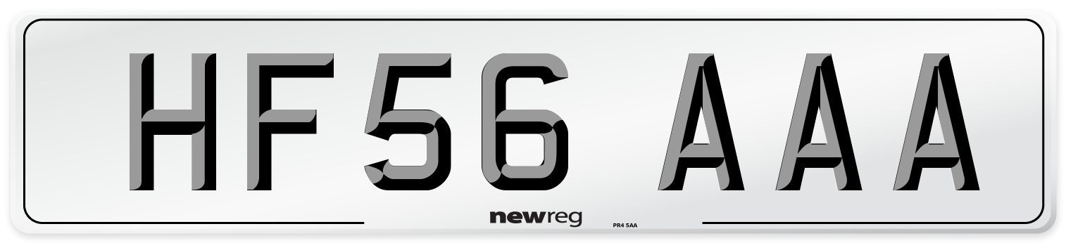 HF56 AAA Number Plate from New Reg
