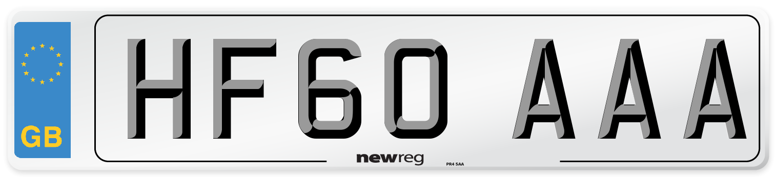 HF60 AAA Number Plate from New Reg
