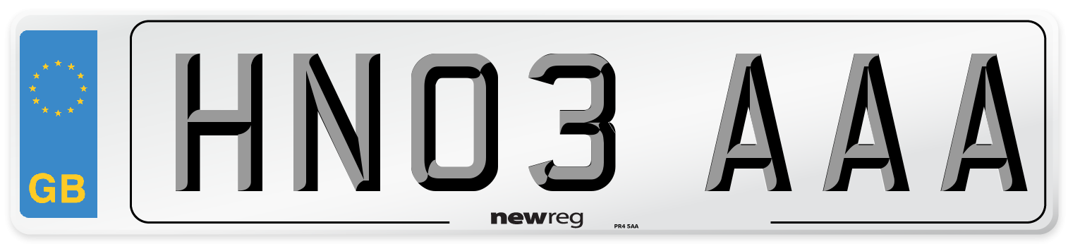 HN03 AAA Number Plate from New Reg