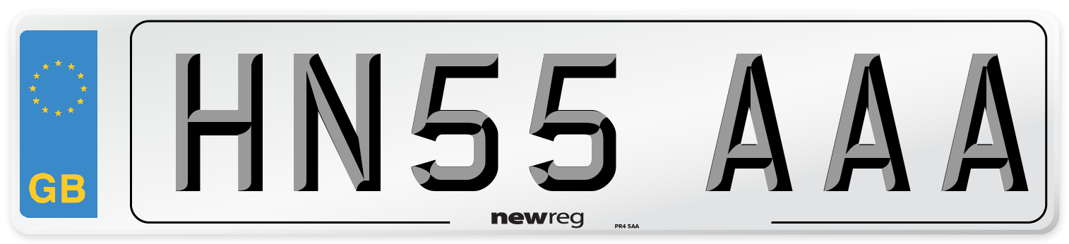 HN55 AAA Number Plate from New Reg