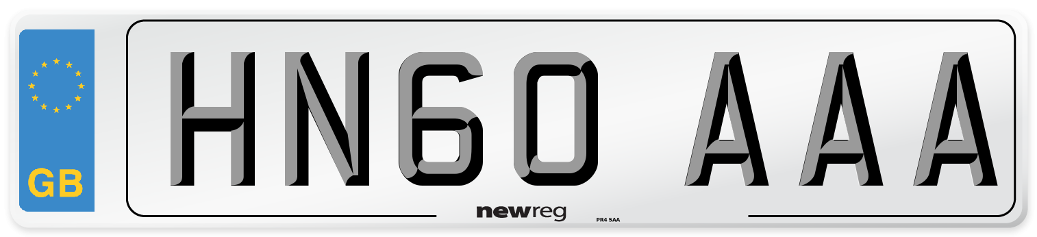 HN60 AAA Number Plate from New Reg