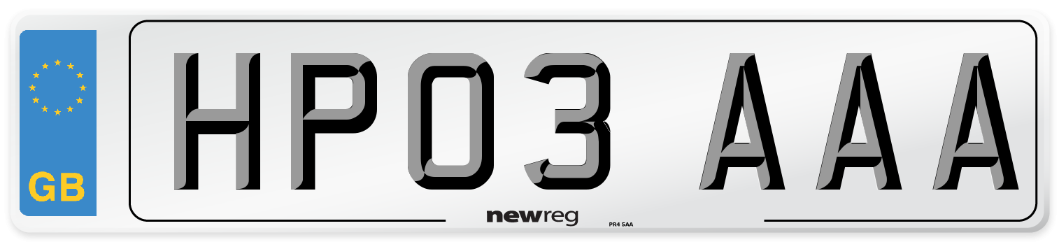 HP03 AAA Number Plate from New Reg