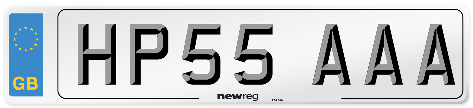 HP55 AAA Number Plate from New Reg