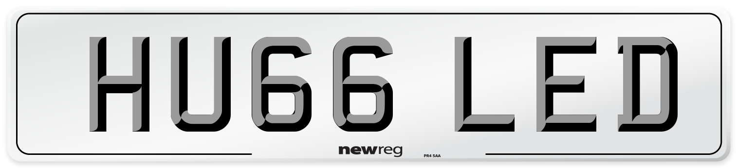 HU66 LED Number Plate from New Reg