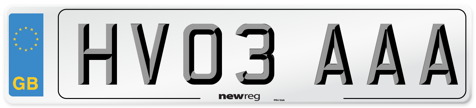 HV03 AAA Number Plate from New Reg
