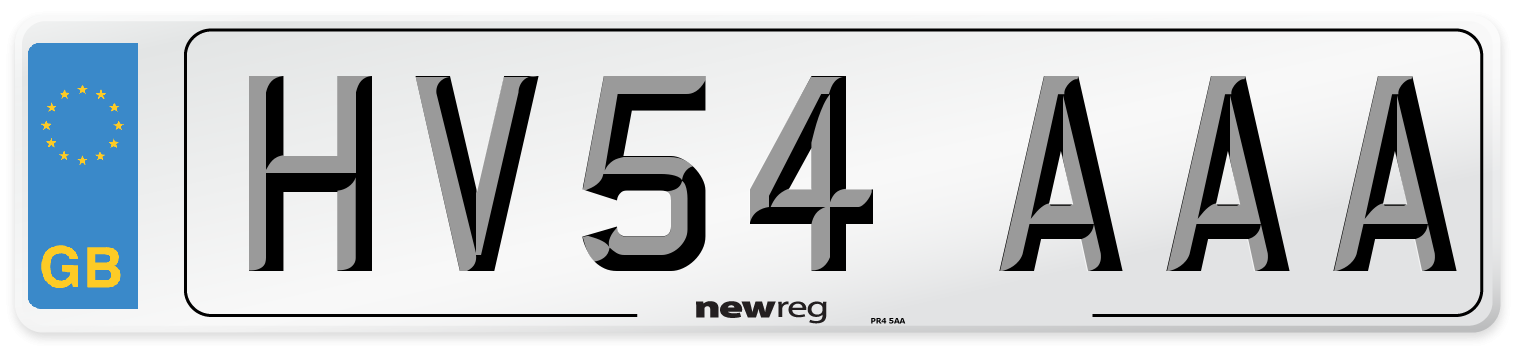 HV54 AAA Number Plate from New Reg