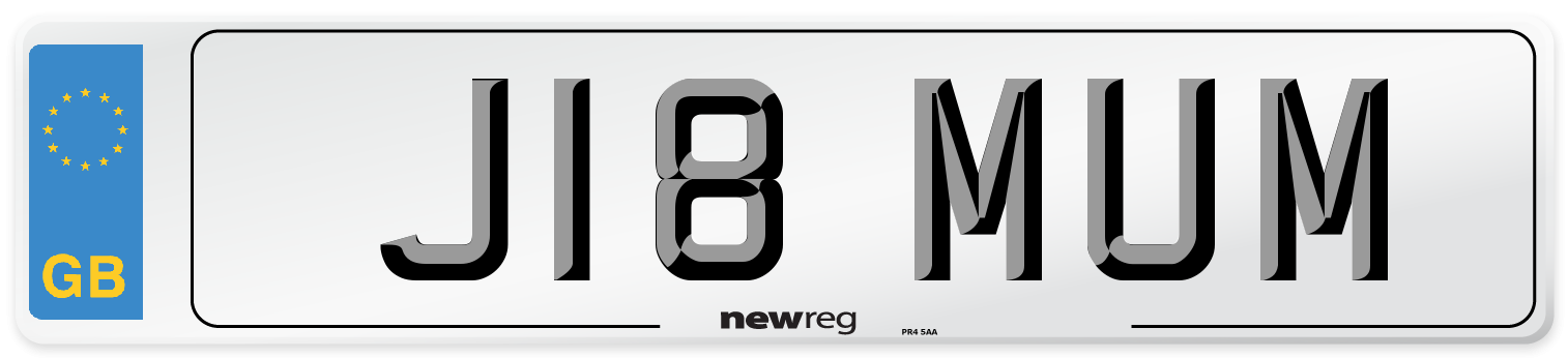 J18 MUM Number Plate from New Reg