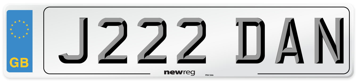 J222 DAN Number Plate from New Reg
